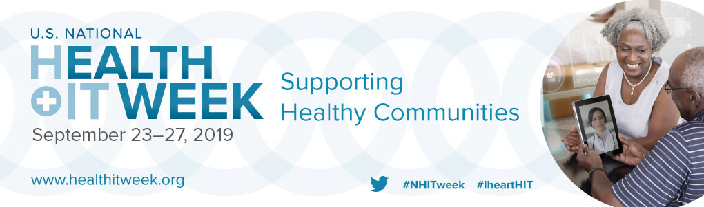 A digital banner advertising 'U.S. National Health IT Week: Supporting Healthy Communities'. To the right there is a photo of an elderly couple at a telemedicine appointment. Below are links to social media and the website.