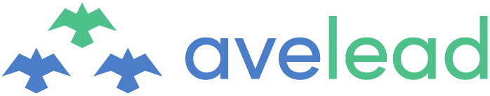 """The Avelead logo in blue and green. To the left are a trio of birds, and to the right the lowercase word 'avelead'. The color green of the lead bird in the trio and the word """"lead"""" in Avelead ties the two together."""