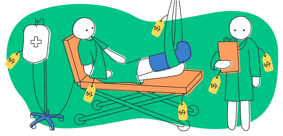 illustration of patient in hospital bed with price tags on various items standing next to a doctor also covered in price tags
